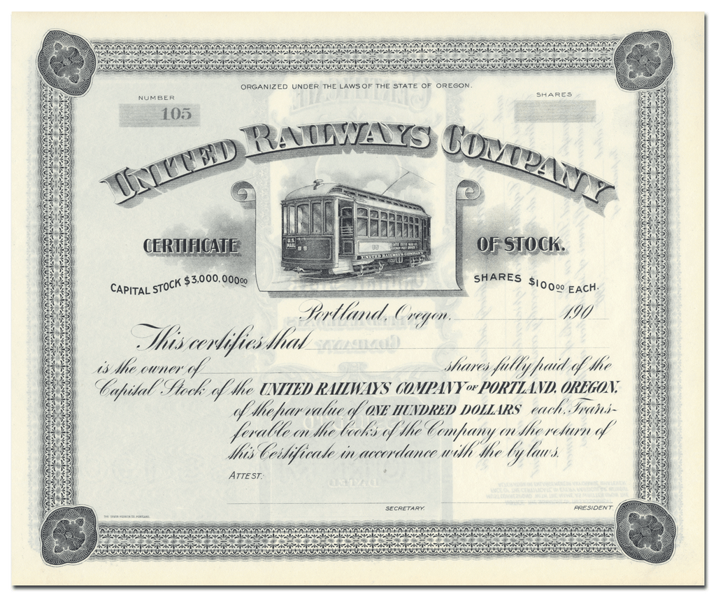 United Railways Company Stock Certificate