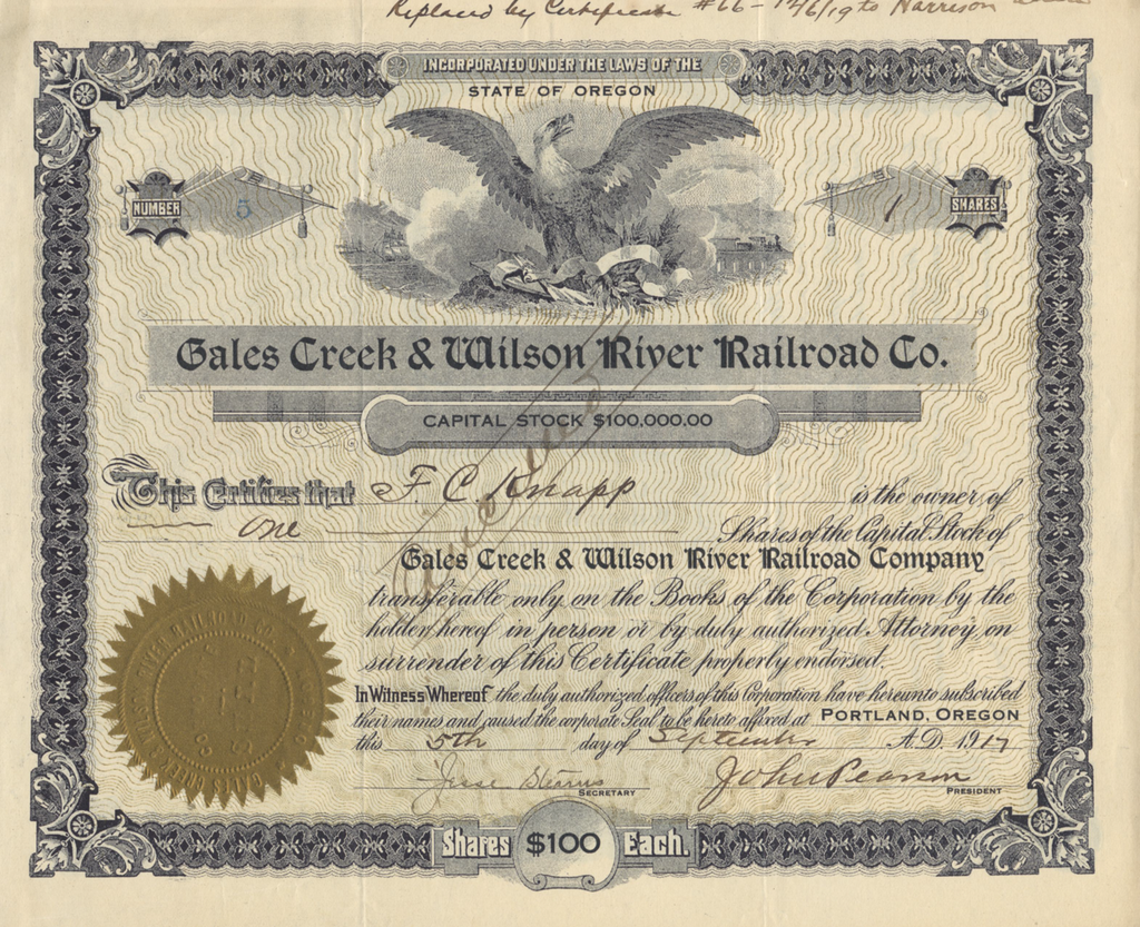 Gales Creek & Wilson River Railroad Co. Stock Certificate