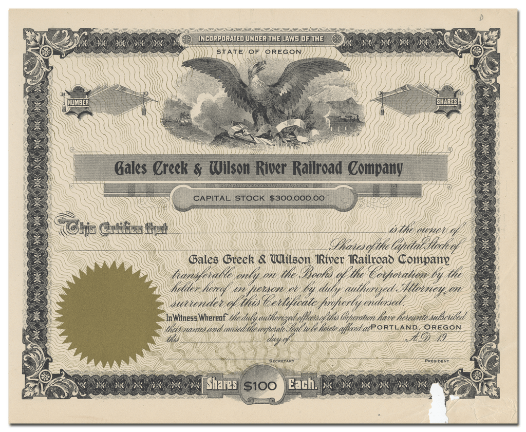 Gales Creek & Wilson River Railroad Company Stock Certificate