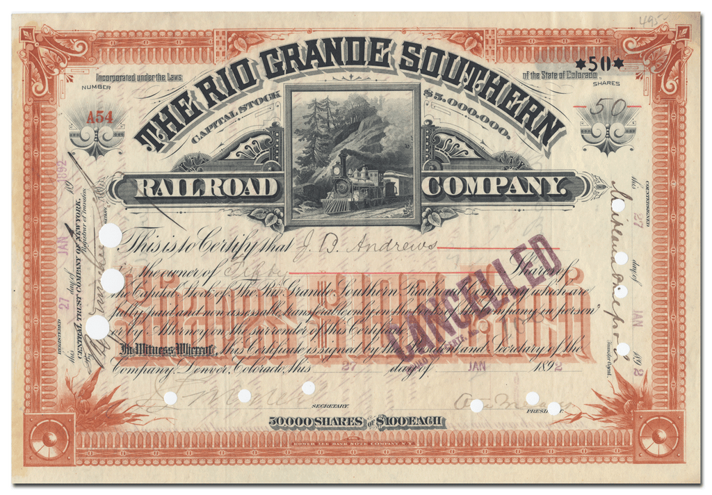 Rio Grande Southern Railroad Company Stock Certificate Signed by Otto Mears