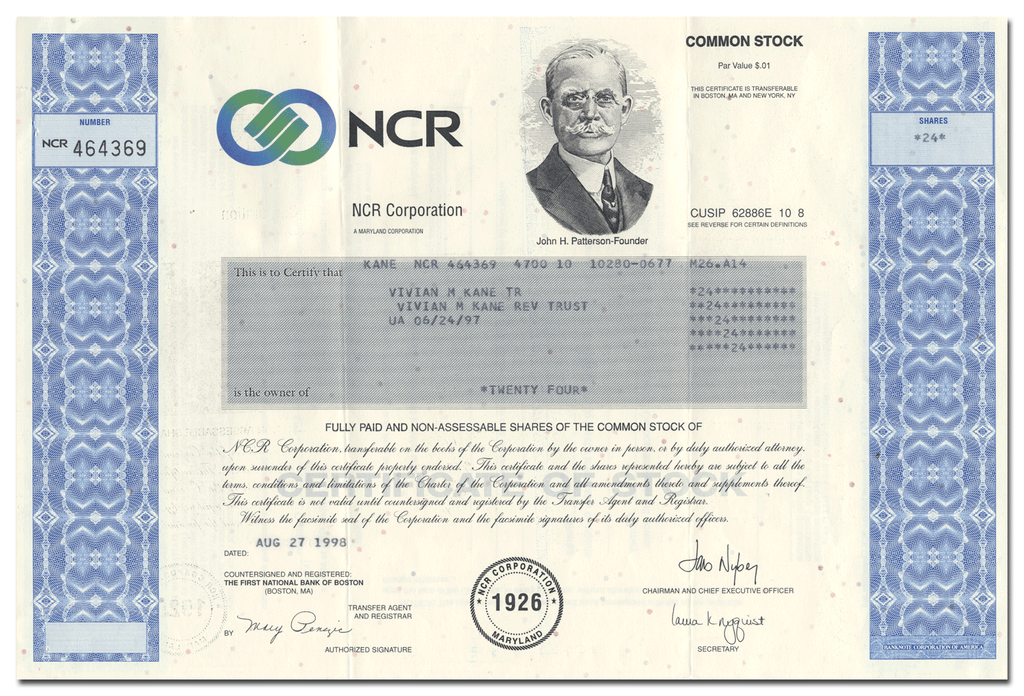 NCR Corporation Stock Certificate