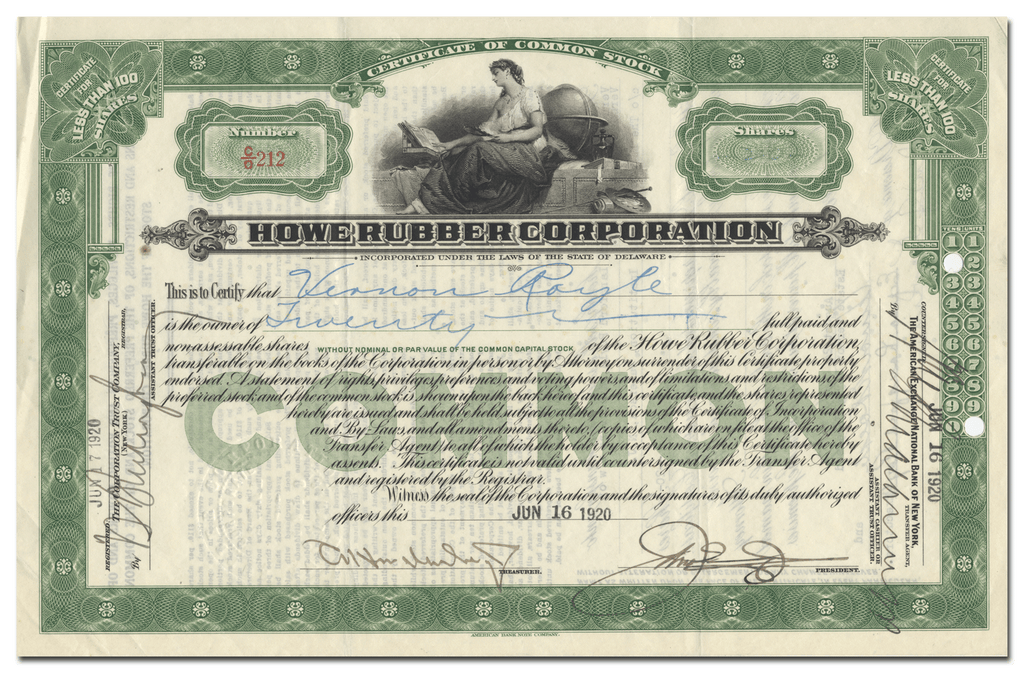 Howe Rubber Corporation Stock Certificate