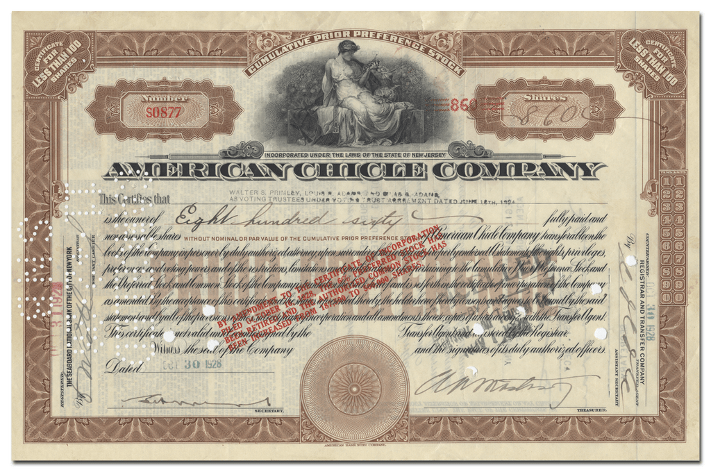 American Chicle Company Stock Certificate