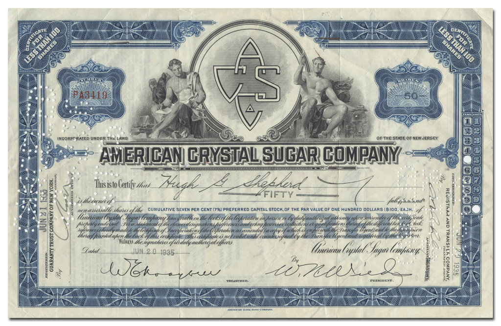 American Crystal Sugar Company Stock Certificate
