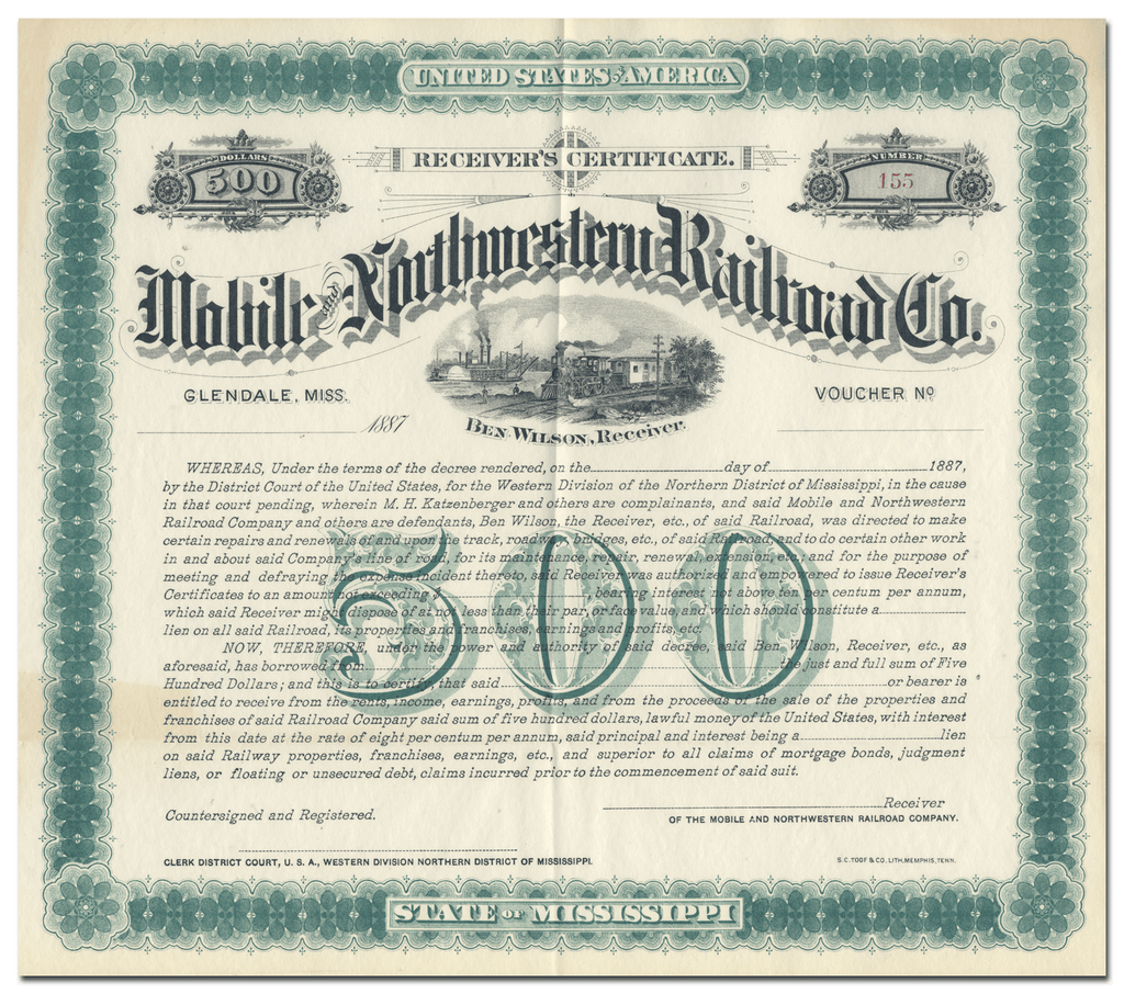 Mobile and Northwestern Railroad Company Bond Certificate