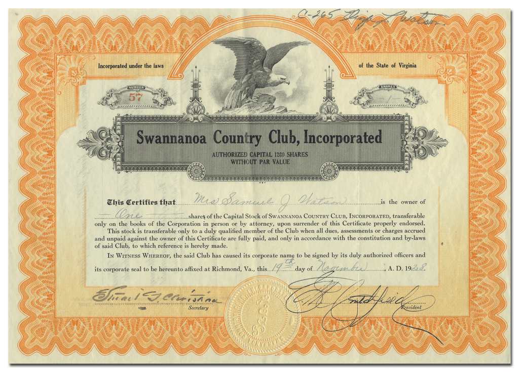 Swannanoa Country Club, Incorporated Stock Certificate
