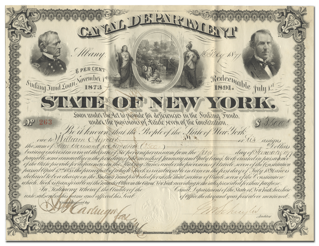 State of New York Canal Department Bond Certificate