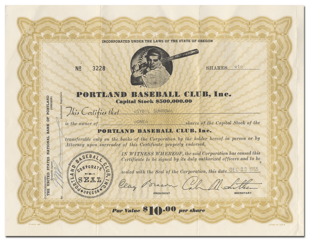 Portland Baseball Club, Inc. Stock Certificate