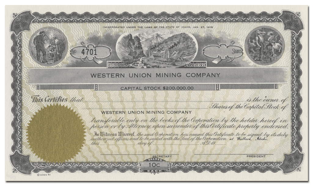 Western Union Mining Company Stock Certificate