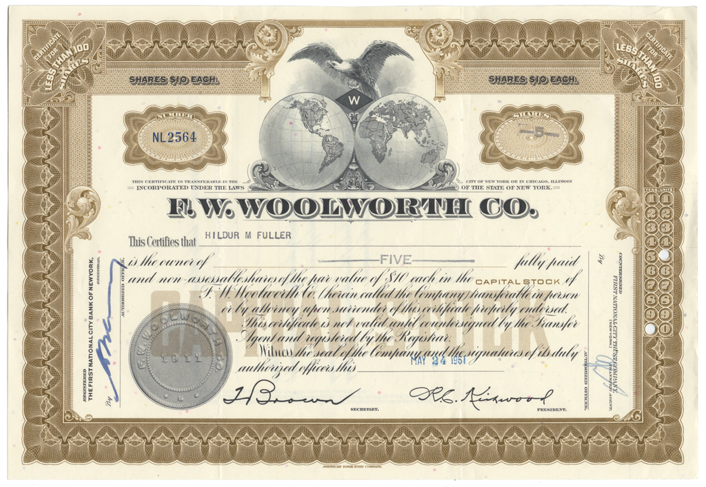 F. W. Woolworth Co. Stock Certificate