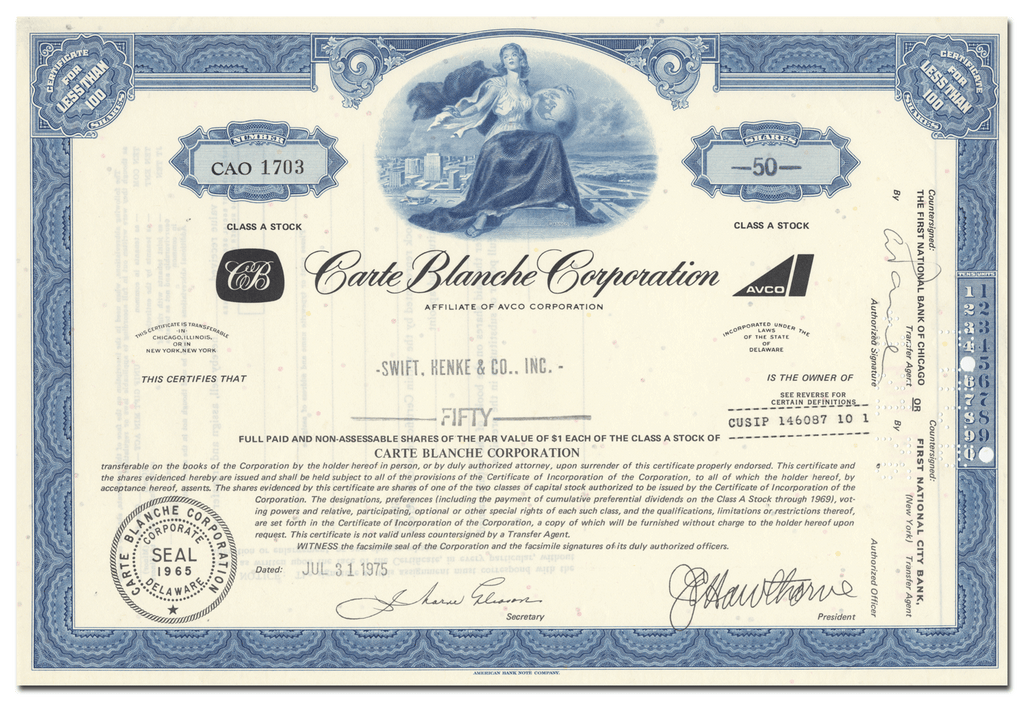 Carte Blanche Corporation Stock Certificate