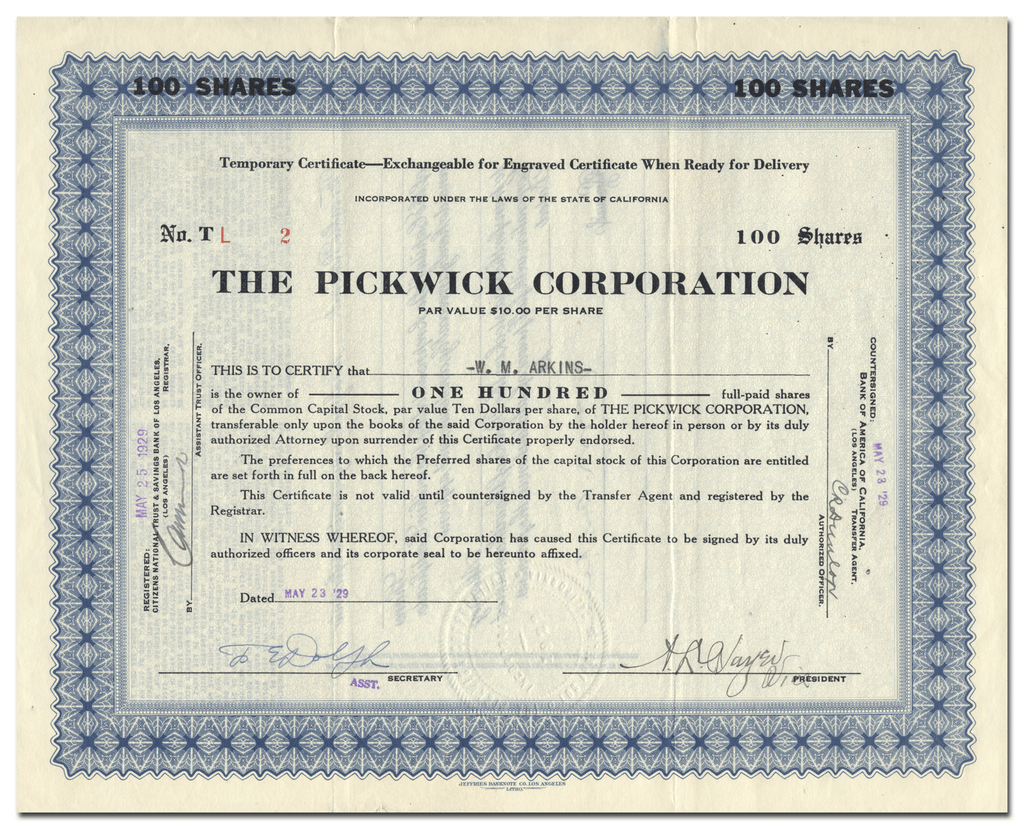 Pickwick Corporation Stock Certificate