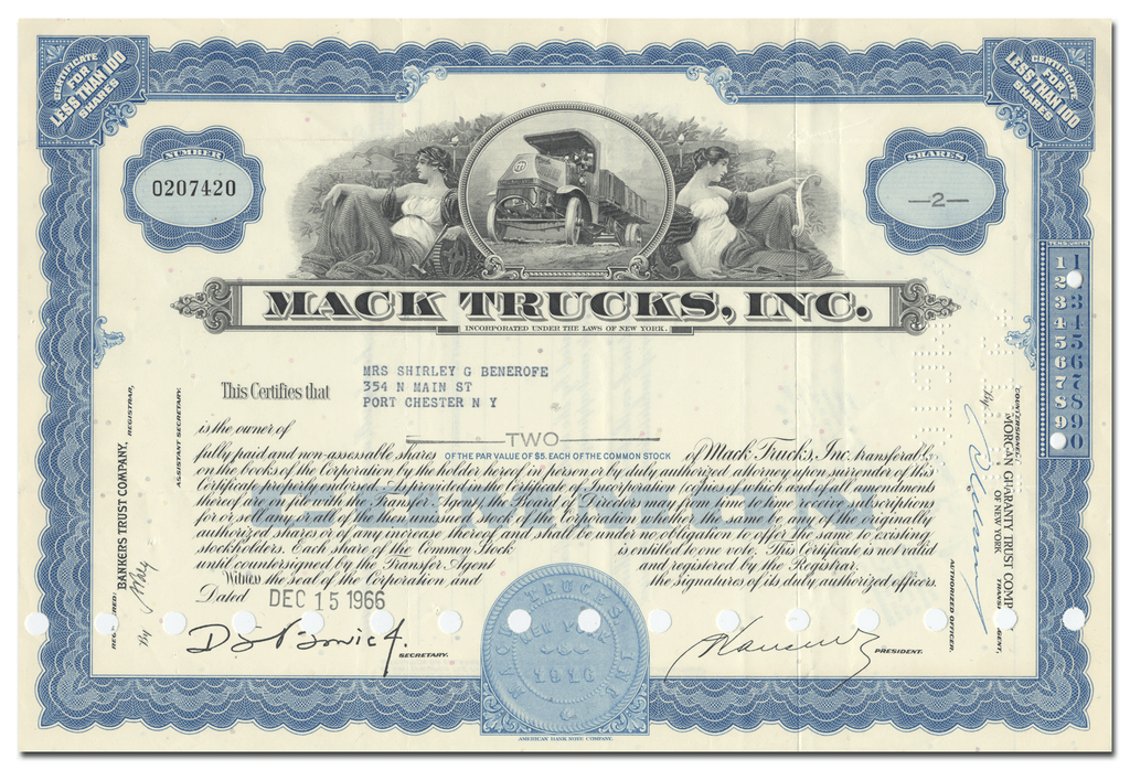 Mack Trucks, Inc. Stock Certificate