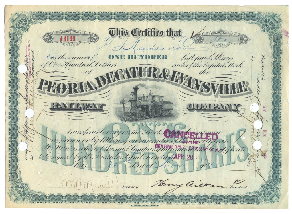 Peoria, Decatur & Evansville Railway Company Stock Certificate