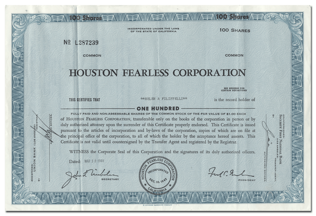 Houston Fearless Corporation Stock Certificate