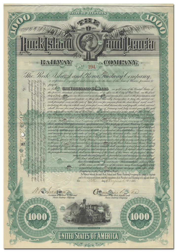 Rock Island and Peoria Railway Company Bond Certificate