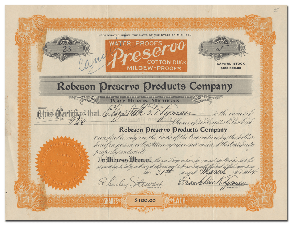 Robeson Preservo Products Company Stock Certificate