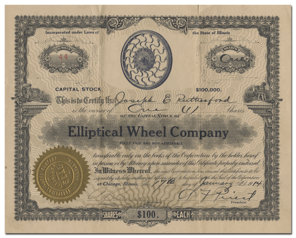 Elliptical Wheel Company Stock Certificate