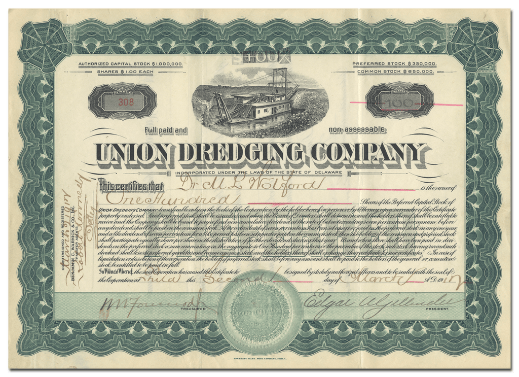 Union Dredging Company Stock Certificate