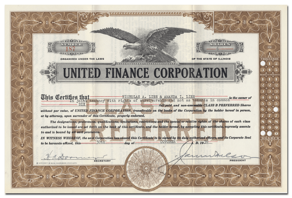 United Finance Corporation Stock Certificate