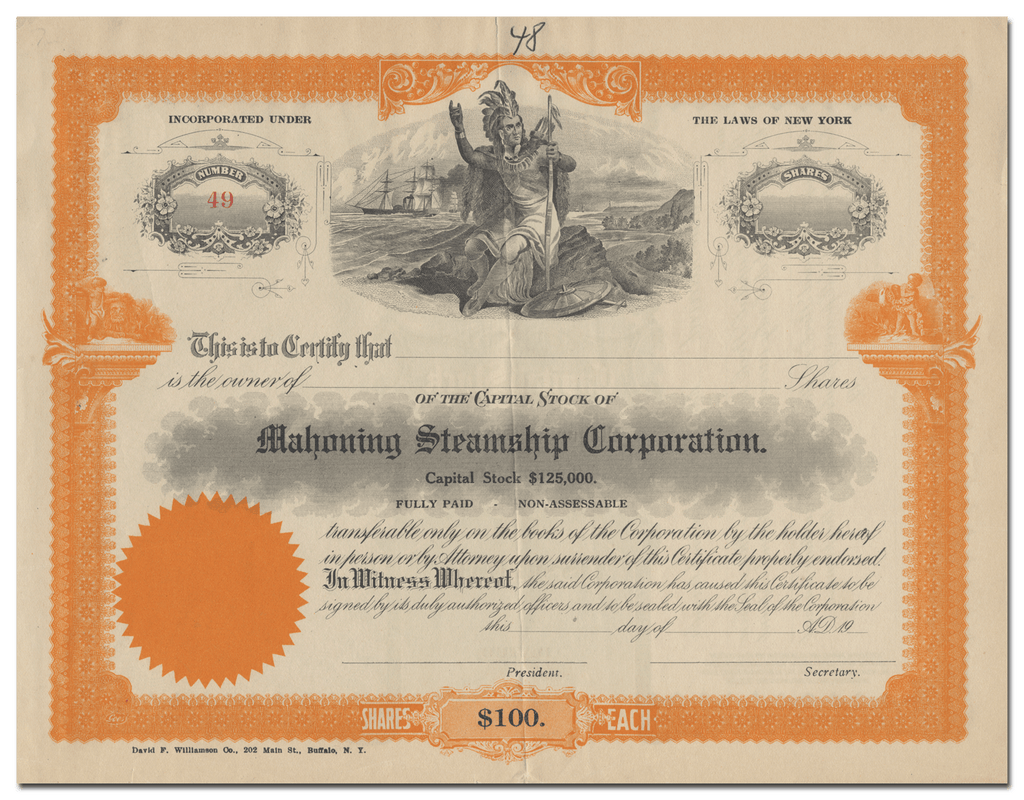Mahoning Steamship Corporation Stock Certificate