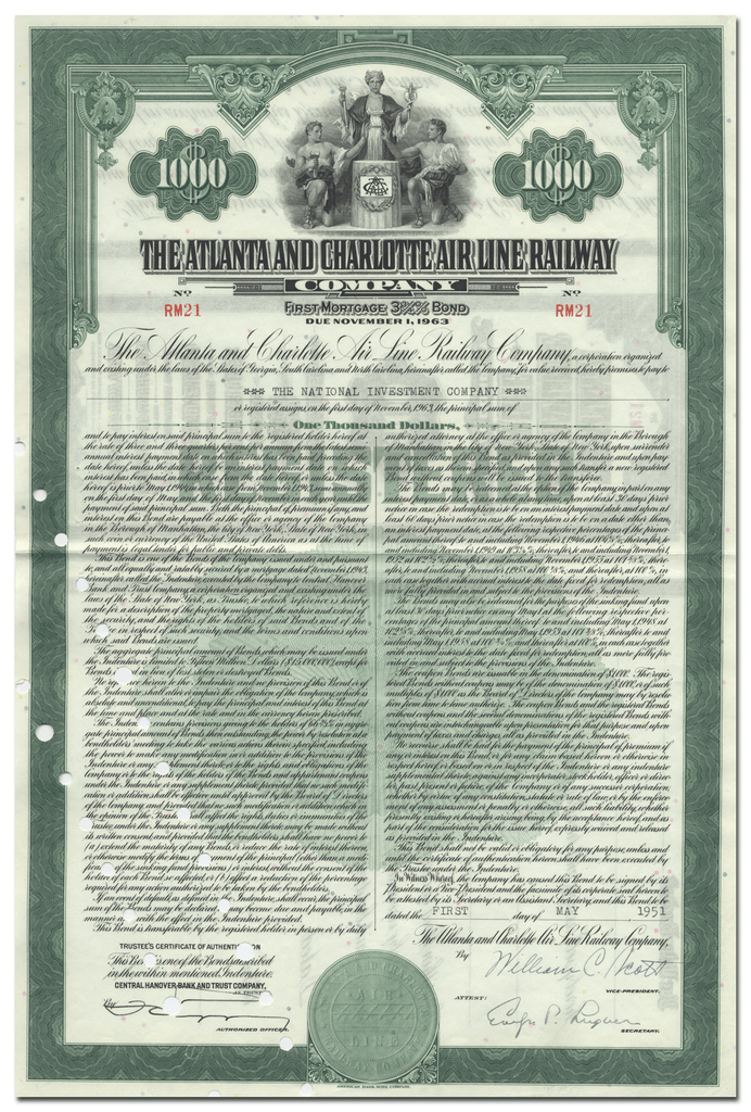 Atlanta and Charlotte Air Line Railway Company Bond Certificate