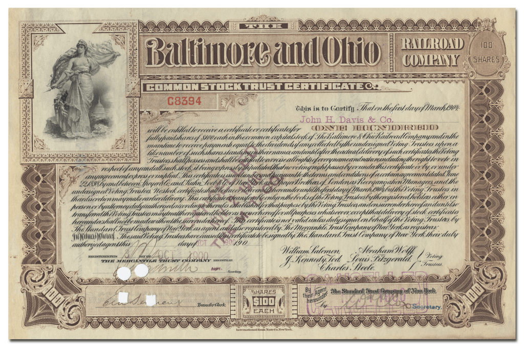 Baltimore and Ohio Railroad Company Stock Certificate
