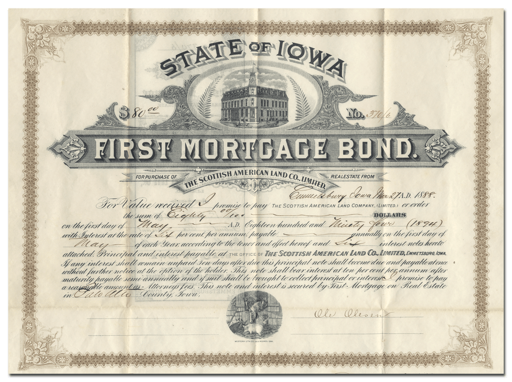 Scottish American Land Company Bond Certificate
