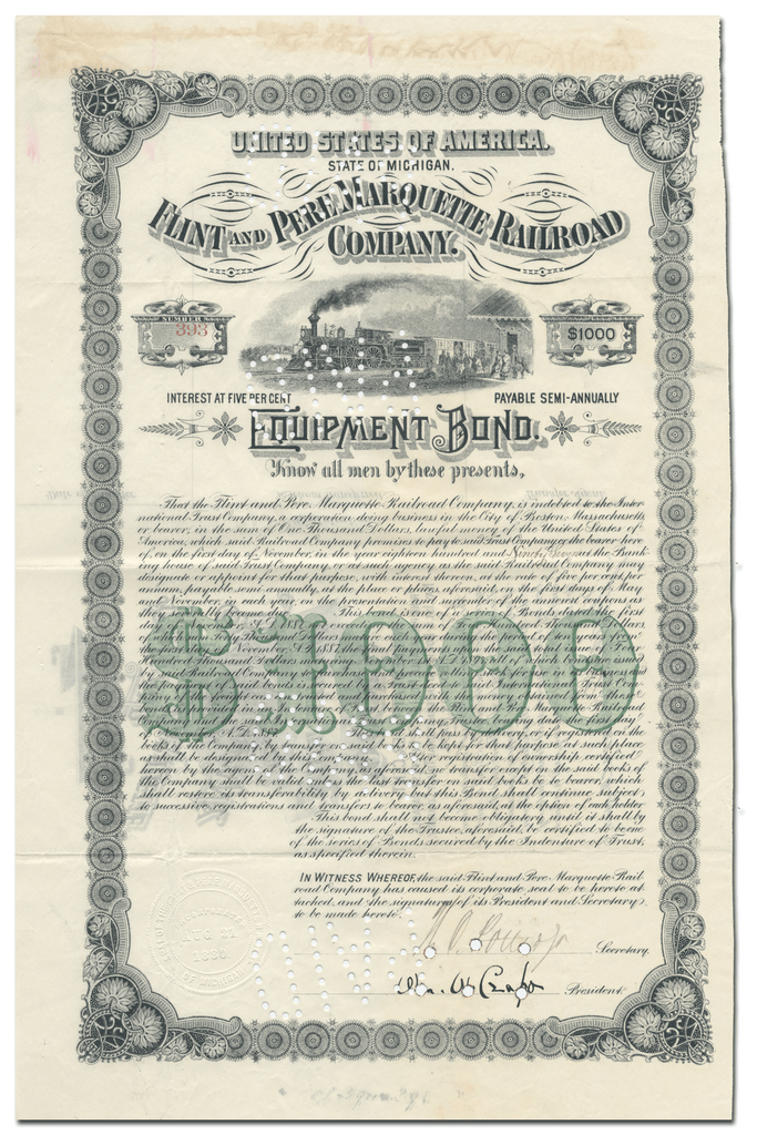 Flint and Pere Marquette Railroad Company Bond Certificate