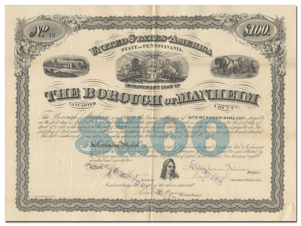 Manheim, Pennsylvania Bond Certificate