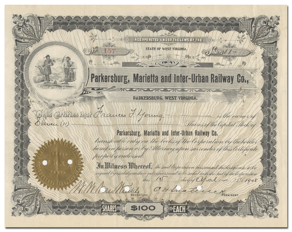 Parkersburg, Marietta and Inter-Urban Railway Co. Stock Certificate
