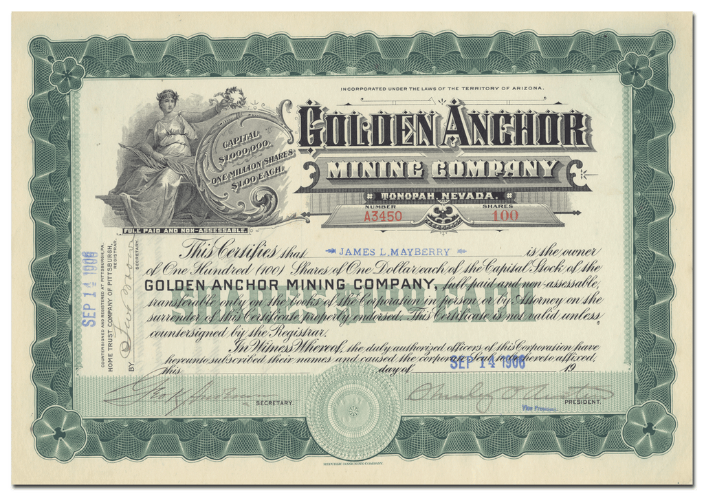 Golden Anchor Mining Company Stock Certificate