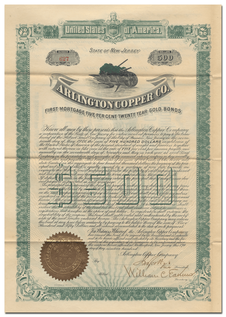 Arlington Copper Company Bond Certificate
