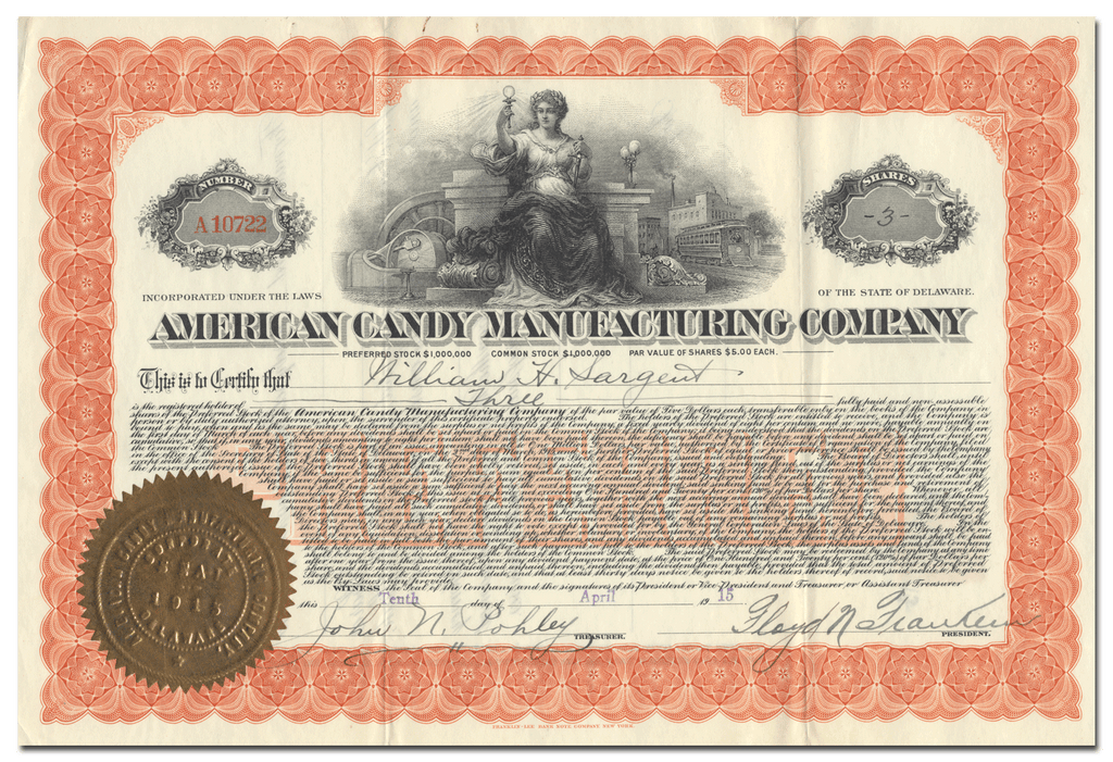 American Candy Manufacturing Company Stock Certificate