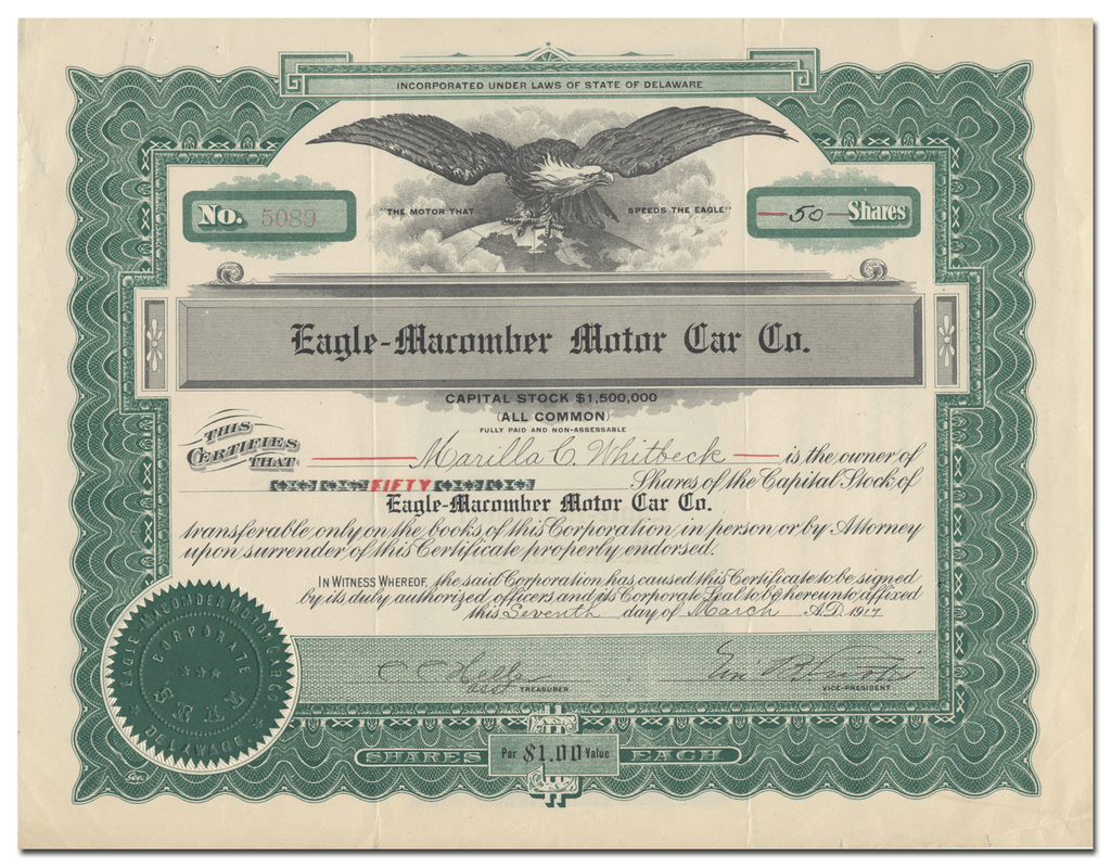 Eagle-Macomber Motor Car Co. Stock Certificate