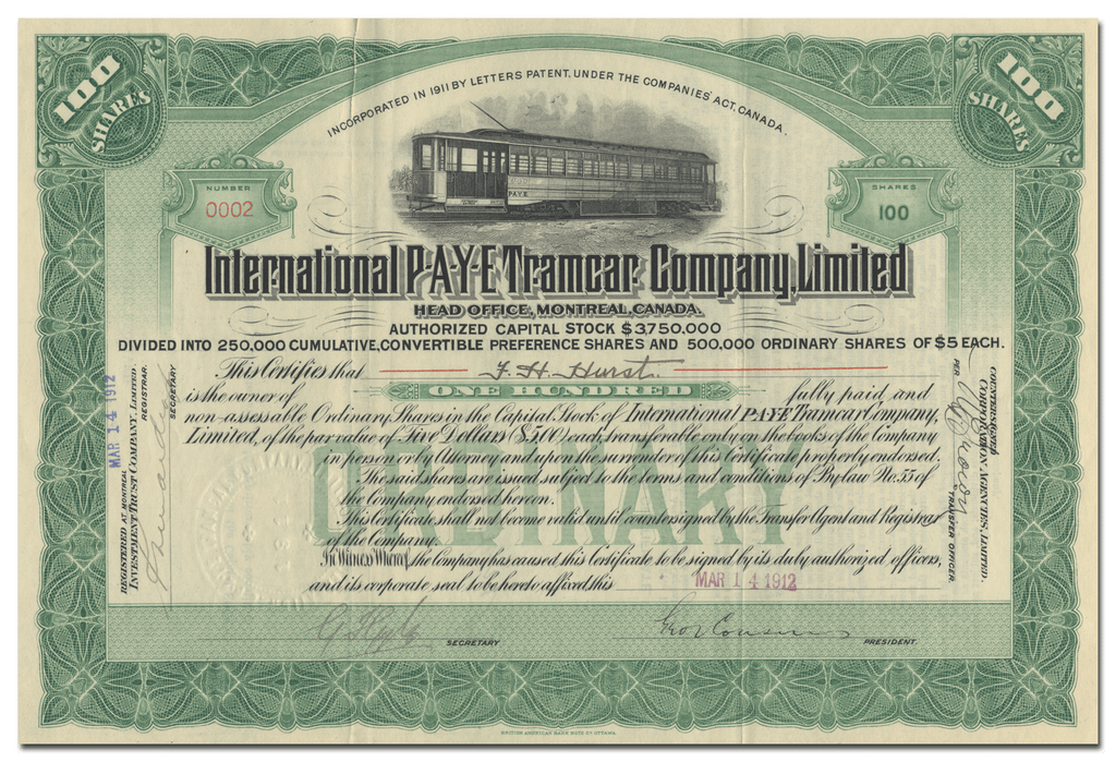 International P-A-Y-E Tramcar Company Limited Stock Certificate