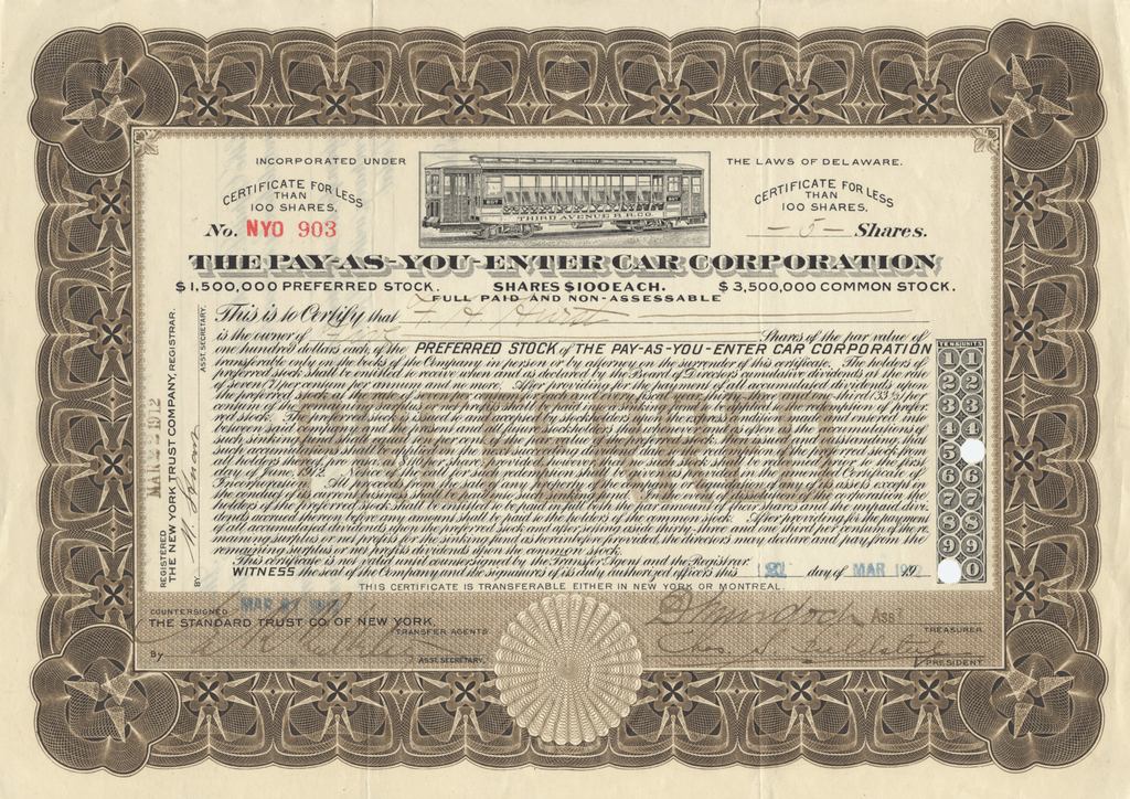 Pay-As-You-Enter Car Corporation Stock Certificate