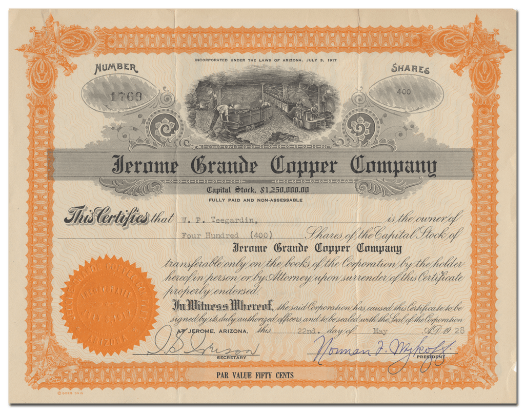 Jerome Grande Copper Company Stock Certificate