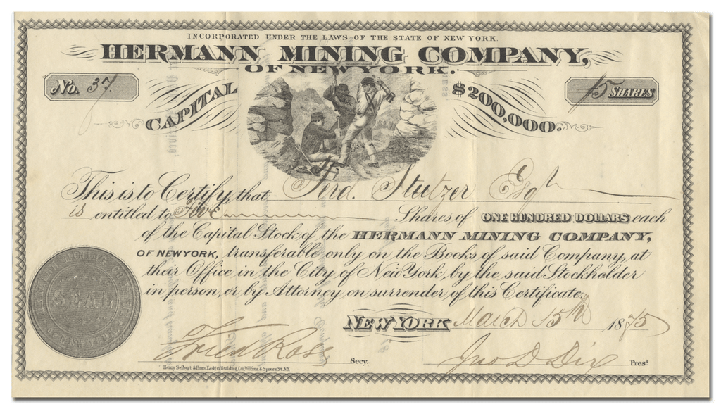 Hermann Mining Company of New York Stock Certificate