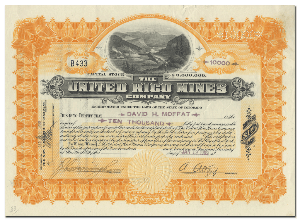 United Rico Mines Company Stock Certificate Issued to David H. Moffat