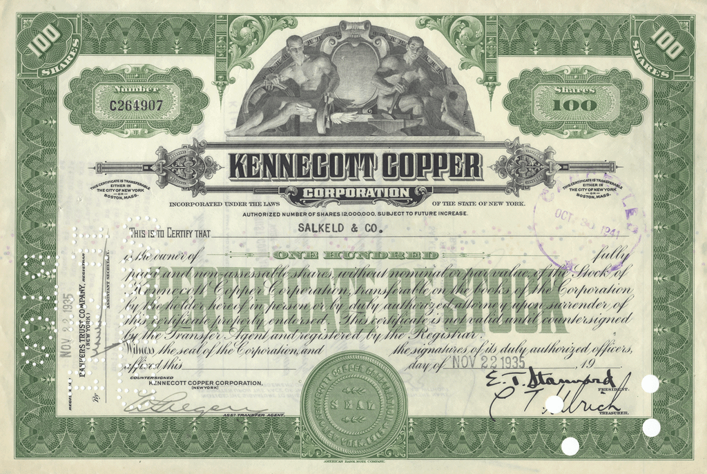Kennecott Copper Corporation Stock Certificate