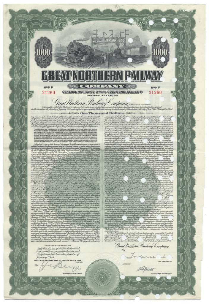 Great Northern Railway Company Bond Certificate