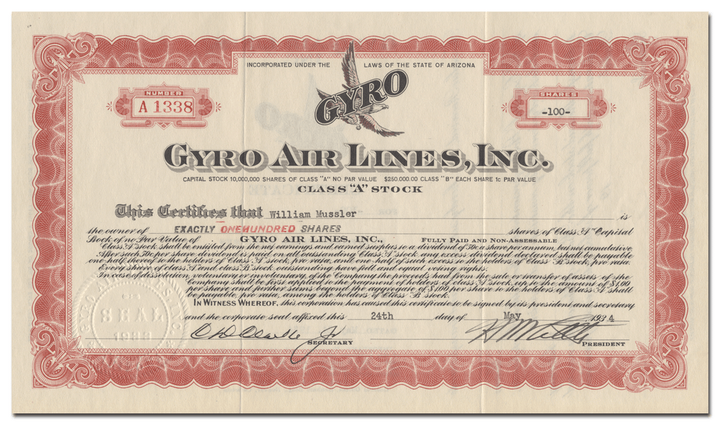 Gyro Air Lines, Inc. Stock Certificate