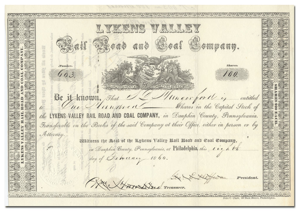 Lykins Valley Rail Road and Coal Company Stock Certificate