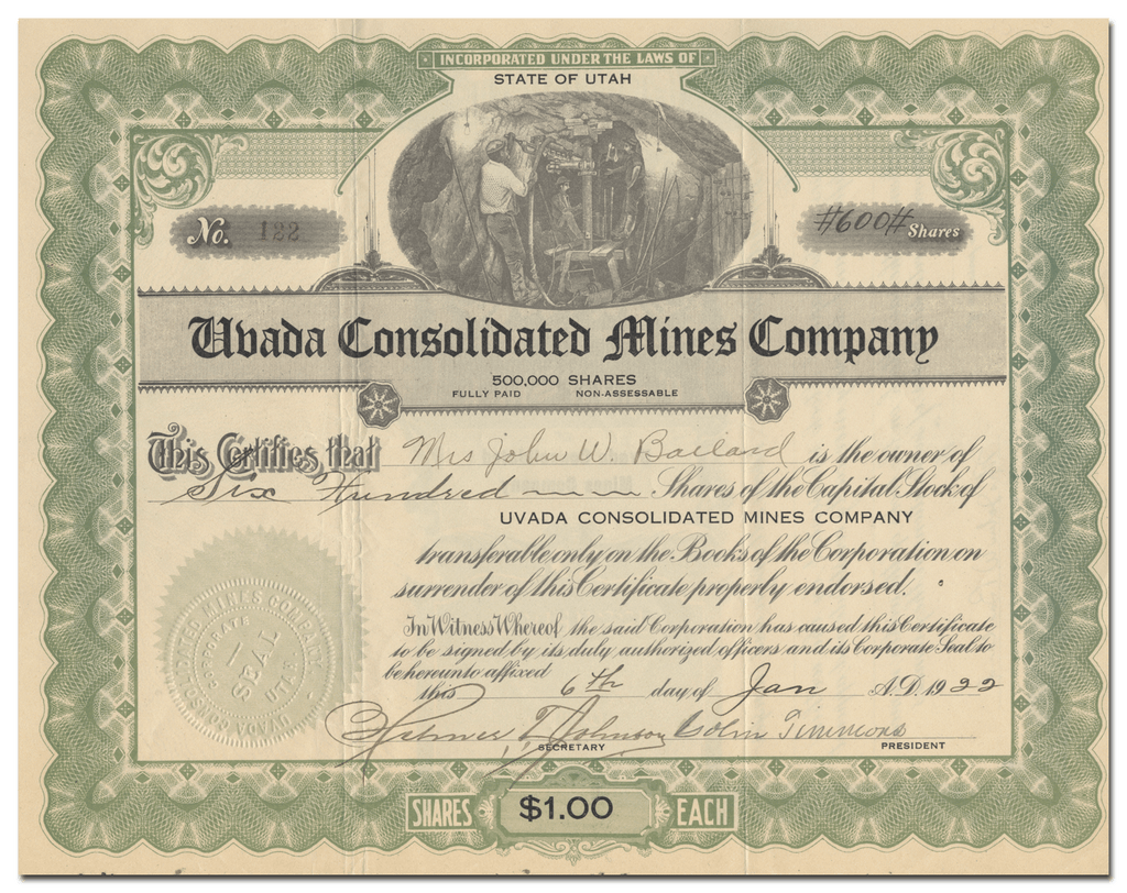 Uvada Consolidated Mines Company Stock Certificate