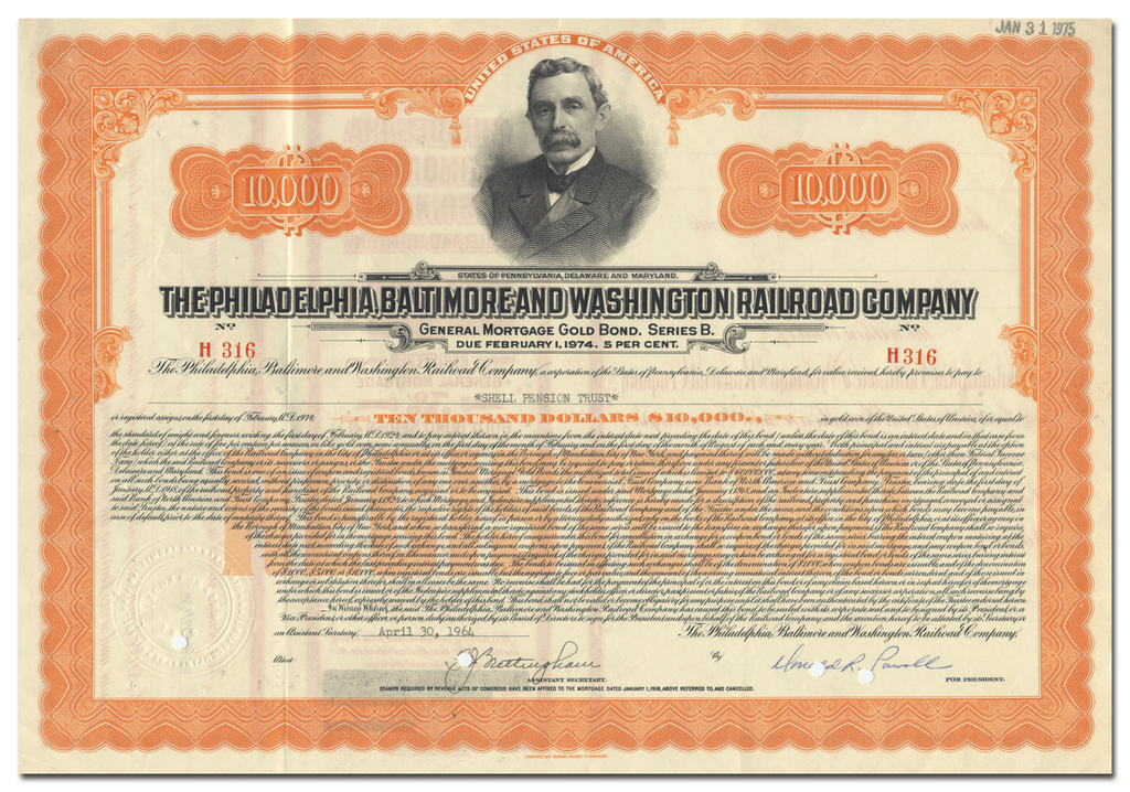 Philadelphia, Baltimore and Washington Railroad Company Bond Certificate