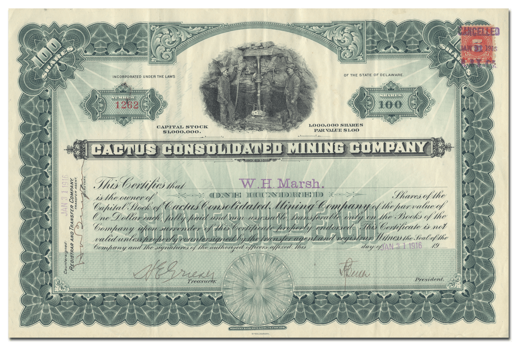 Cactus Consolidated Mining Company Stock Certificate