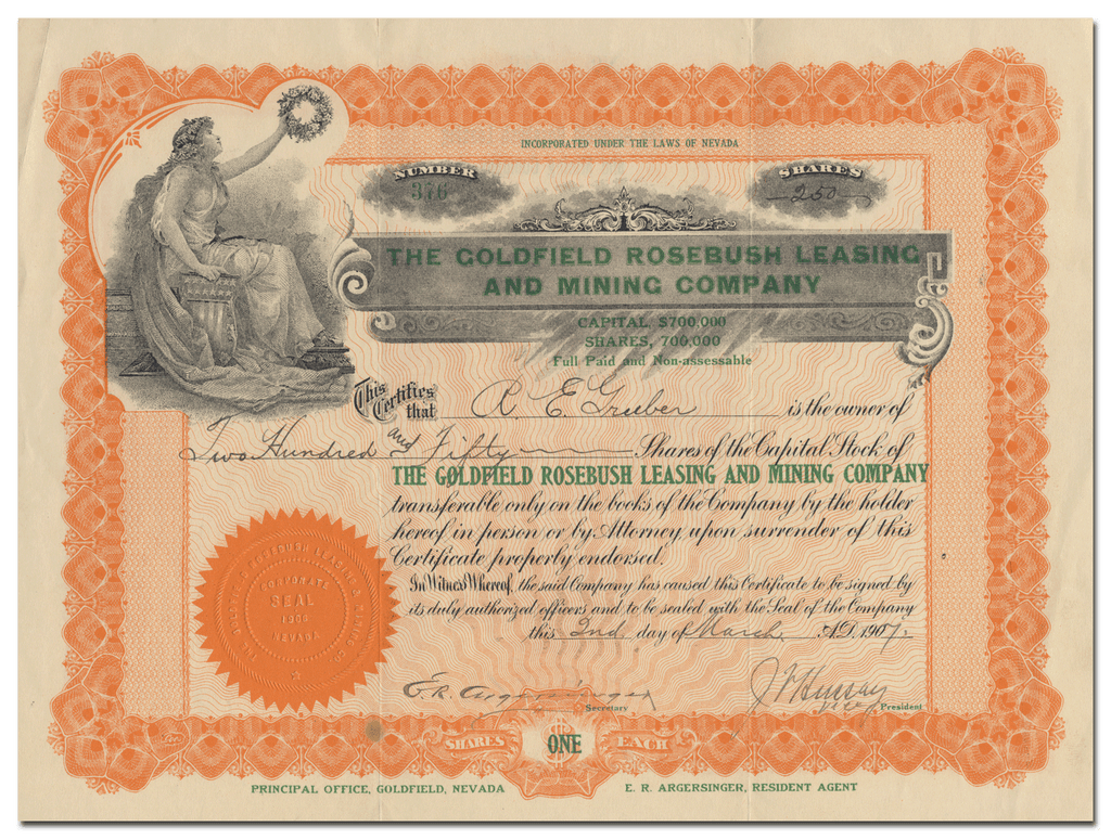 Goldfield Rosebush Leasing and Mining Company Stock Certificate