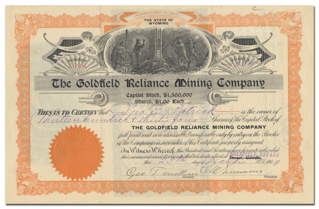 Goldfield Reliance Mining Company Stock Certificate