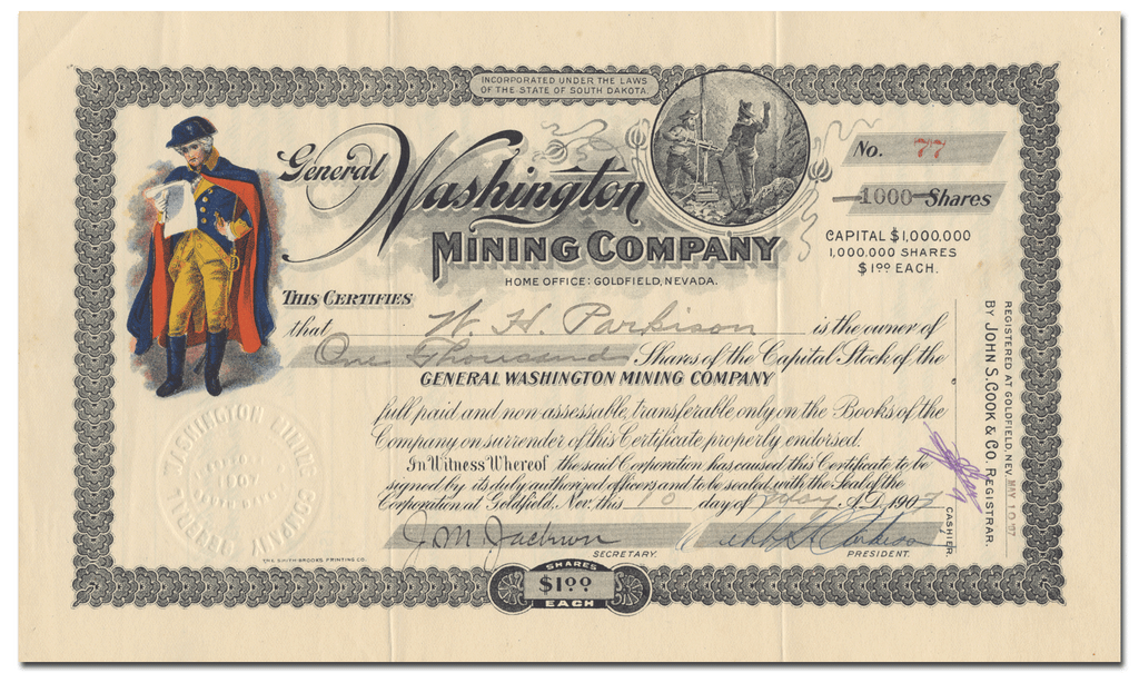 General Washington Mining Company Stock Certificate